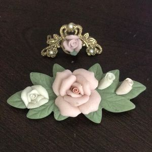 Porcelain Rose brooches
